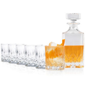 RCR COMBO-4014 Opera Luxion Crystal Set of 6 Whiskly Glasses with Square Decanter Thumbnail 2