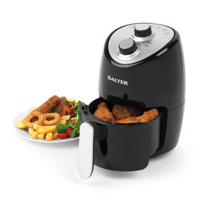 Salter EK2817 Compact Hot Air Fryer With Removable Frying Rack, 2 L, 1000 W, Black/Silver