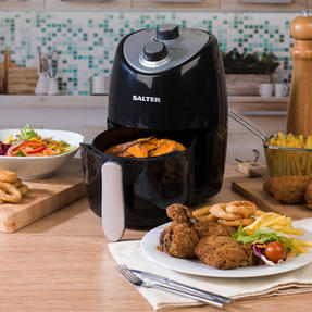 Salter EK2817 Compact Hot Air Fryer With Removable Frying Rack, 2 L, 1000 W, Black/Silver Thumbnail 2