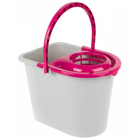 Kleeneze KL062598EU Bucket With Mop Wringer And Carry Handle, 14 L, Plastic, Grey/Pink