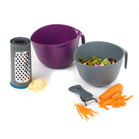 Progress Round Grater, Double Ended Peeler and 2 in 1 Measuring Bowl with Colander Set