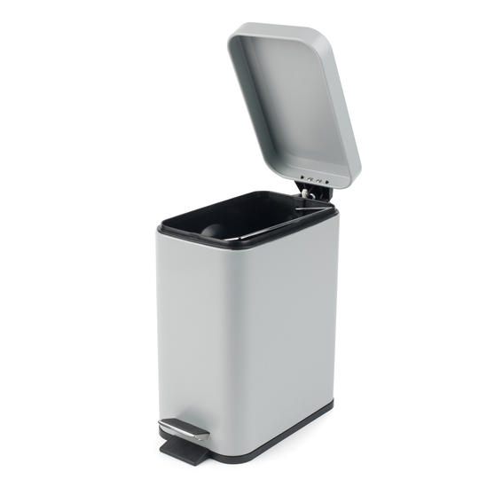 Beldray Rectangular Waste Pedal Bin with Soft Closing Lid, 5 Litres, Grey, Set of 2 Thumbnail 2