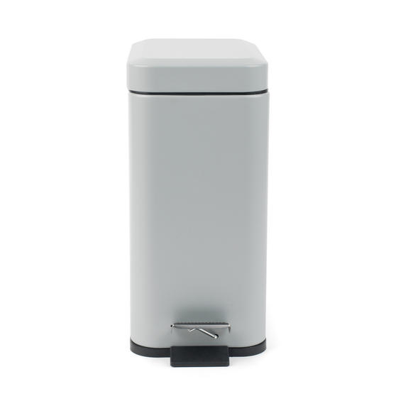Beldray Rectangular Waste Pedal Bin with Soft Closing Lid, 5 Litres, Grey, Set of 2 Thumbnail 4