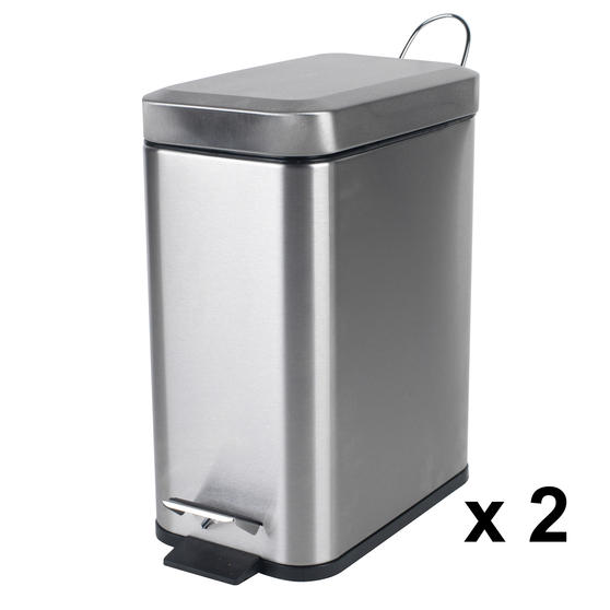 Beldray COMBO-4261 Rectangular Waste Pedal Bin with Soft Closing Lid, 5 Litres, Stainless Steel, Set of 2