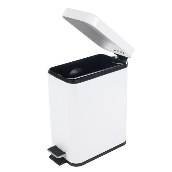Beldray Rectangular Waste Pedal Bin with Soft Closing Lid, 5 Litres, White, Set of 2 Thumbnail 2