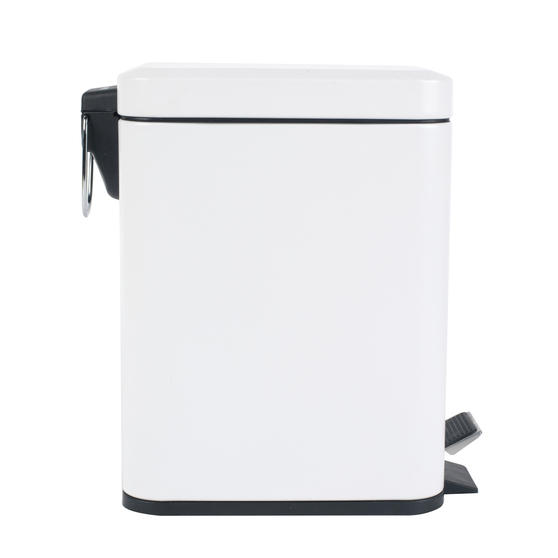 Beldray Rectangular Waste Pedal Bin with Soft Closing Lid, 5 Litres, White, Set of 2 Thumbnail 3