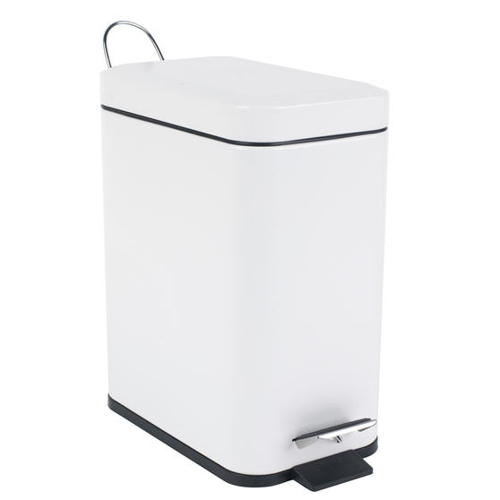 Beldray Rectangular Waste Pedal Bin with Soft Closing Lid, 5 Litres, White, Set of 2 Thumbnail 5