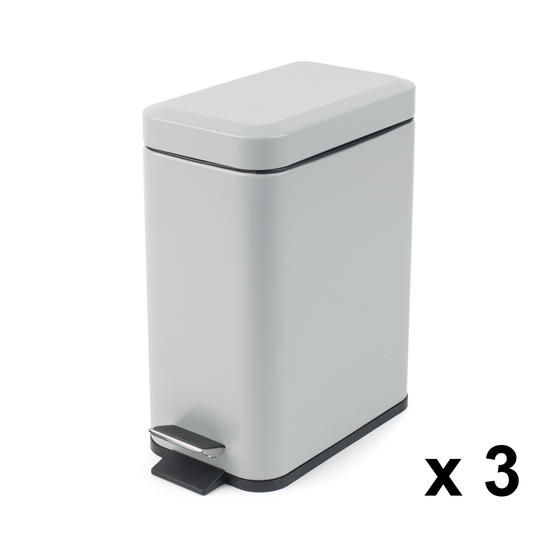 Beldray Rectangular Waste Pedal Bin with Soft Closing Lid, 5 Litres, Grey, Set of 3