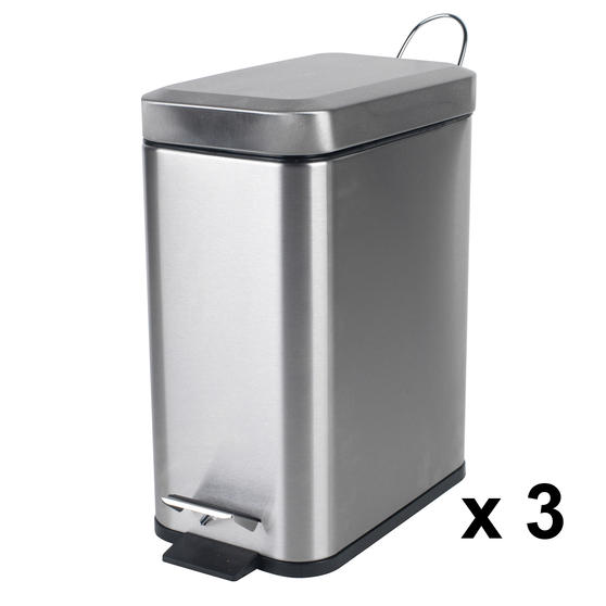 Beldray Rectangular Waste Pedal Bin with Soft Closing Lid, 5 Litres, Stainless Steel, Set of 3 Thumbnail 1