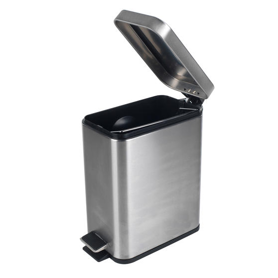 Beldray Rectangular Waste Pedal Bin with Soft Closing Lid, 5 Litres, Stainless Steel, Set of 3 Thumbnail 2