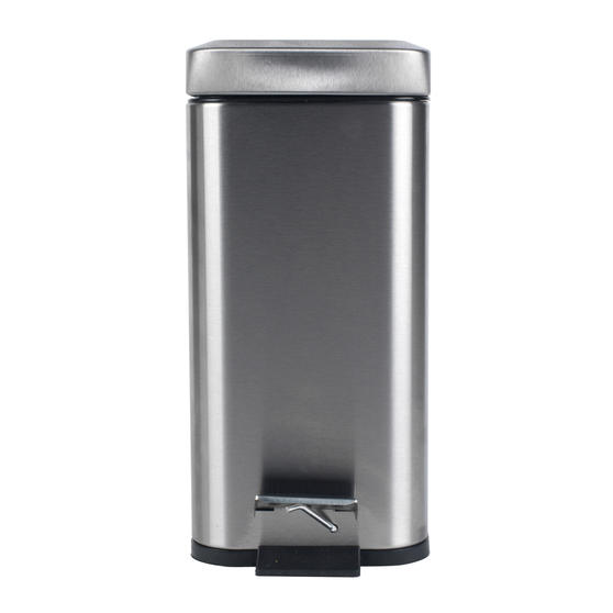 Beldray Rectangular Waste Pedal Bin with Soft Closing Lid, 5 Litres, Stainless Steel, Set of 3 Thumbnail 4