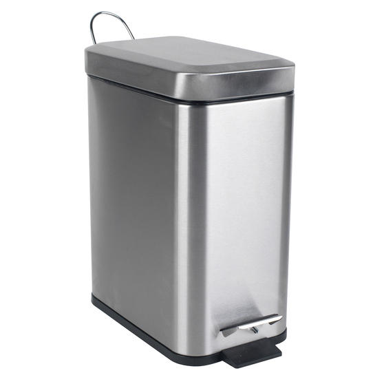 Beldray Rectangular Waste Pedal Bin with Soft Closing Lid, 5 Litres, Stainless Steel, Set of 3 Thumbnail 5