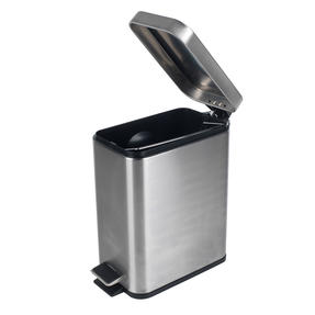 Beldray COMBO-4264 Rectangular Waste Pedal Bin with Soft Closing Lid, 5 Litres, Stainless Steel, Set of 3 Thumbnail 2