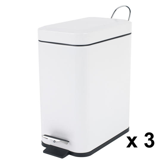Beldray Rectangular Waste Pedal Bin with Soft Closing Lid, 5 Litres, White, Set of 3