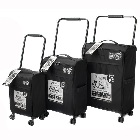 ZFrame ZF00023PCBLKMIL Three Piece Lightweight Double-Wheeled Suitcase Set, Black