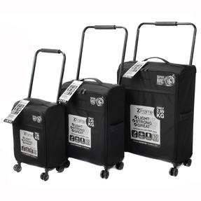 ZFrame ZF00023PCBLKMIL Three Piece Lightweight Double-Wheeled Suitcase Set, Black Thumbnail 1