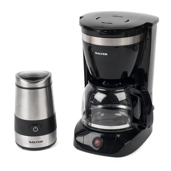 Salter COMBO-3838 Coffee Maker with Keep Warm Function and Electric Coffee Bean and Spice Grinder, Black / Stainless Steel