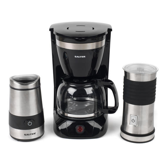 Salter COMBO-4073 Coffee Maker with Keep Warm Function, Electric Coffee and Spice Grinder and Milk Frother, Black / Stainless Steel