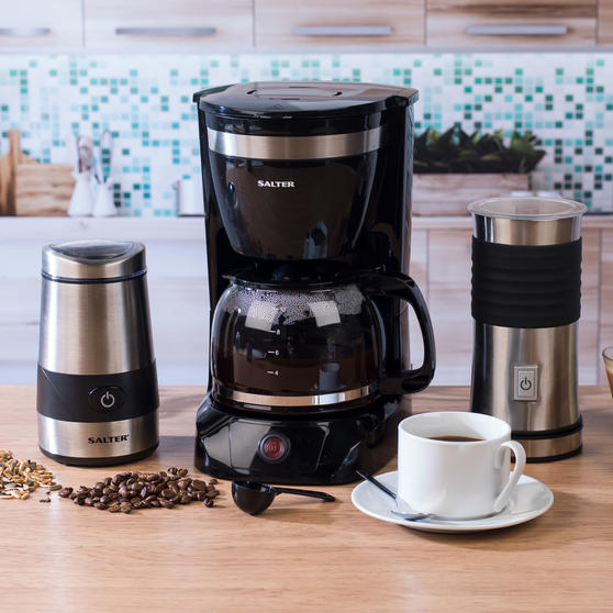 Salter Combo 4073 Coffee Maker With Keep Warm Function Electric Coffee And Spice Grinder And Milk Frother Black Stainless Steel