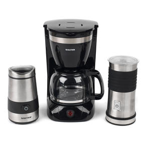 Salter COMBO-4073 Coffee Maker with Keep Warm Function, Electric Coffee and Spice Grinder and Milk Frother, Black / Stainless Steel Thumbnail 1