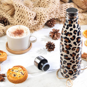 Cambridge CM06513 Watercolour Leopard Thermal Insulated Flask Bottle, 500 ml, Stainless Steel Thumbnail 3