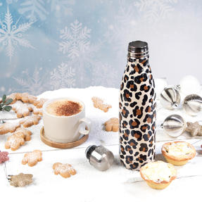 Cambridge CM06513 Watercolour Leopard Thermal Insulated Flask Bottle, 500 ml, Stainless Steel Thumbnail 4