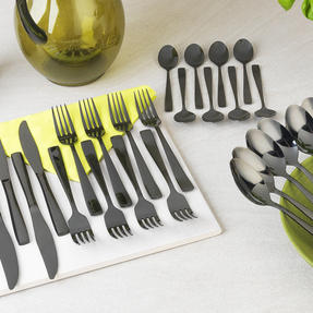 Salter COMBO-4115 Regal 32 Piece Cutlery Set, Black Thumbnail 2