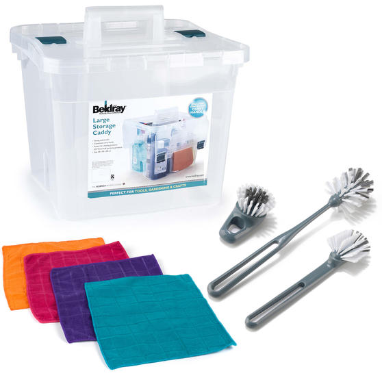 Beldray COMBO-4074 Caravan Accessories Storage Caddy with Dish Brushes and Microfibre Cloths