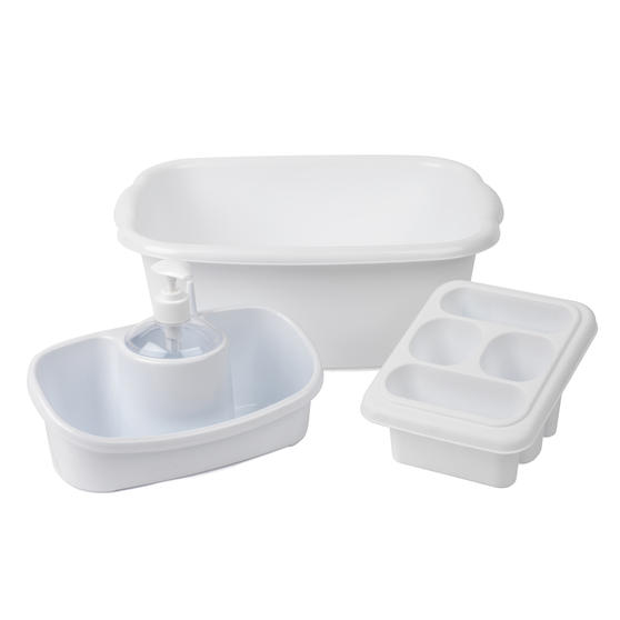 Beldray COMBO-4238 10L Washing Up Bowl, Storage Caddy and Cutlery Drainer, White