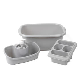 Beldray COMBO-4239 10L Washing Up Bowl, Storage Caddy and Cutlery Drainer, Grey