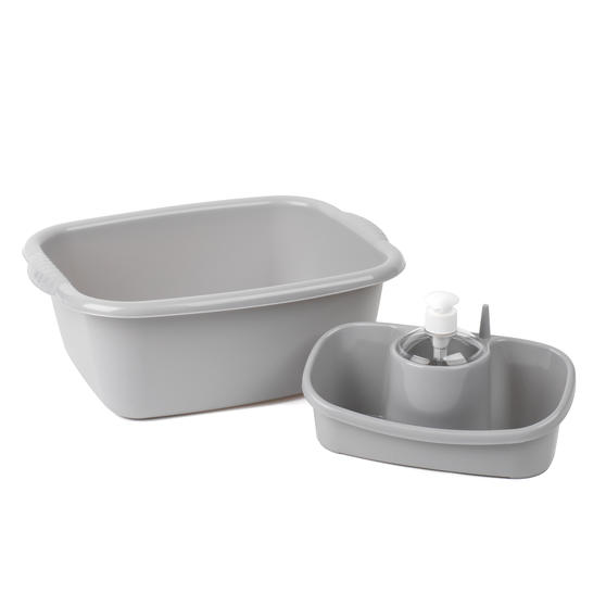 Beldray Caravan 10L Washing Up Bowl and Sink Storage Caddy with Soap Dispenser, Grey