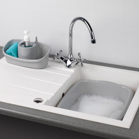 Beldray Caravan 10L Washing Up Bowl and Sink Storage Caddy with Soap Dispenser, Grey Thumbnail 2