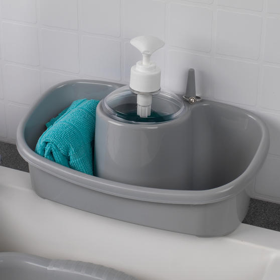 Beldray Caravan 10L Washing Up Bowl and Sink Storage Caddy with Soap Dispenser, Grey Thumbnail 4