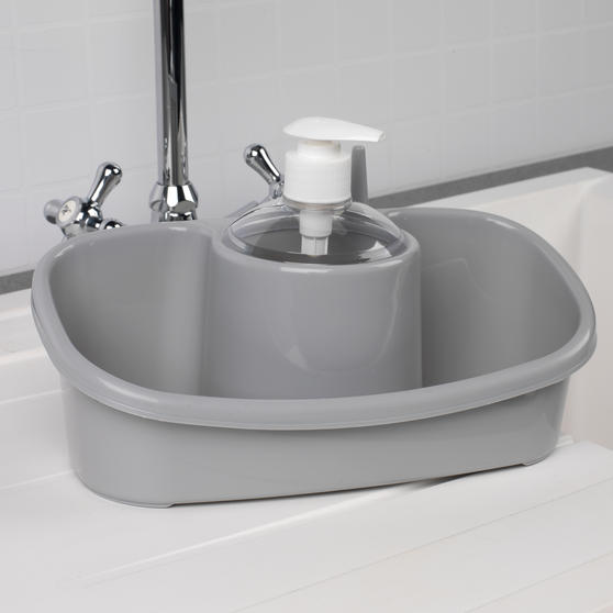 Beldray Caravan 10L Washing Up Bowl and Sink Storage Caddy with Soap Dispenser, Grey Thumbnail 6