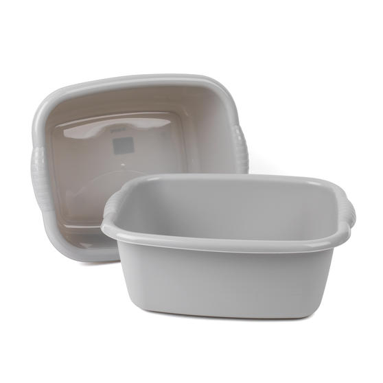 Beldray Rectangular Washing Up Bowl, 10 Litre, Grey, Set of 2 Thumbnail 1