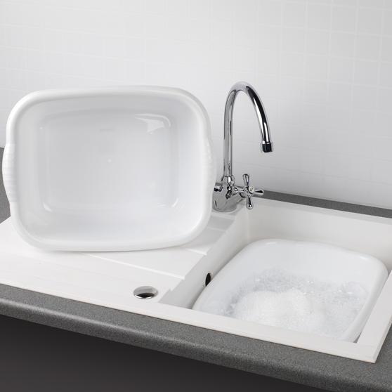 Beldray Rectangular Washing Up Bowl, 10 Litre, White, Set of 2 Main Image 2