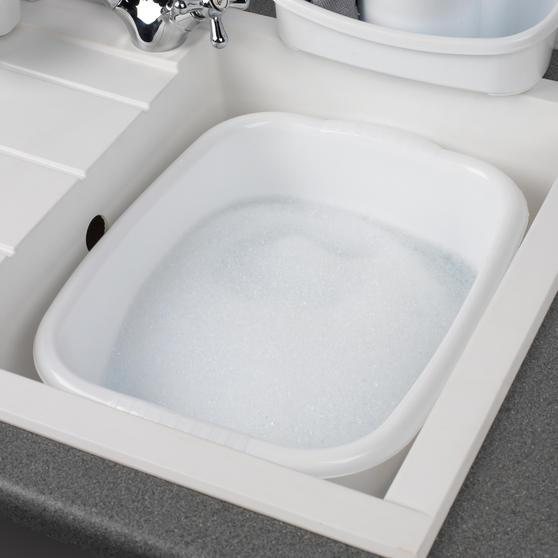 Beldray Rectangular Washing Up Bowl, 10 Litre, White, Set of 2 Main Image 3