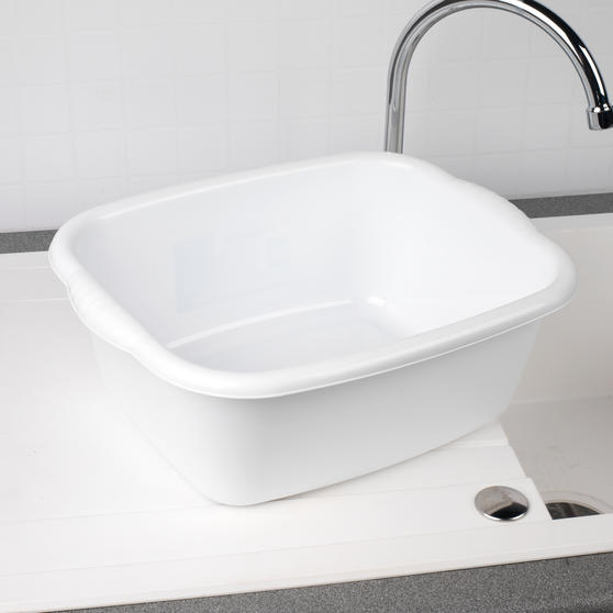 Beldray Rectangular Washing Up Bowl, 10 Litre, White, Set of 2 Main Image 4
