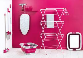Kleeneze KL062536EU Cloth Mop With Extendable Telescopic Handle, White/Pink Thumbnail 7