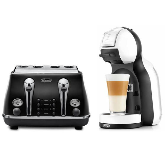 De?Longhi COMBO-4130 Nescafe Dolce Gusto Mini Me Coffee Machine with Icona Four-Slice Toaster, White / Onyx Black