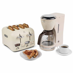 De?Longhi COMBO-4136 Icona Vintage Drip Coffee Machine with Argento Four Slice Toaster, Beige / Cream Thumbnail 1