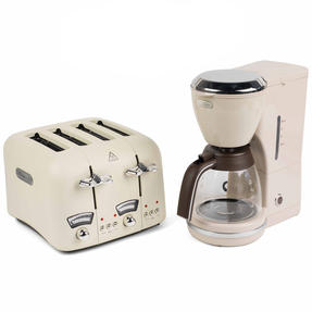 De?Longhi COMBO-4136 Icona Vintage Drip Coffee Machine with Argento Four Slice Toaster, Beige / Cream Thumbnail 2