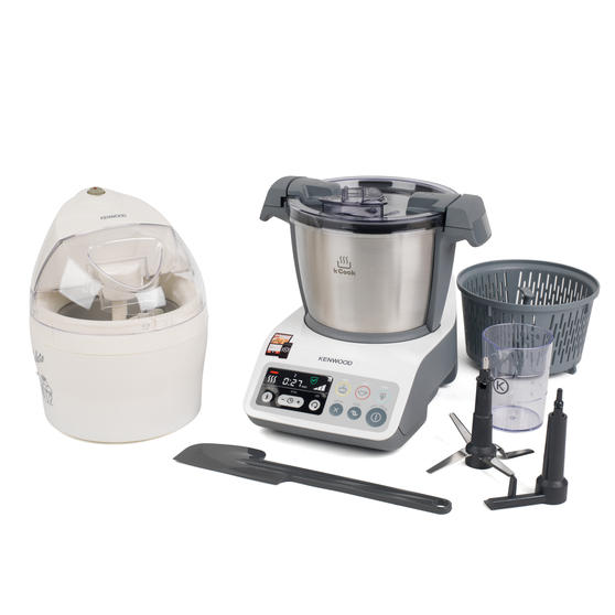 Kenwood COMBO-4131 kCook Food Processor and Electric Ice Cream Maker Kitchen Gadget Set, White / Grey