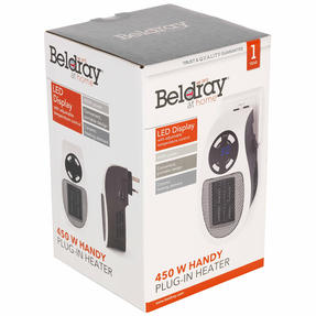 Beldray EH30012STK Compact Plug-in Heater, 450W, White Thumbnail 12