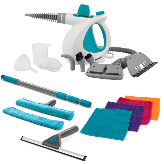 Beldray COMBO-4394 10 in 1 Handheld Steam Cleaner with 5 Piece Window Cleaning Set and Microfibre Cloths
