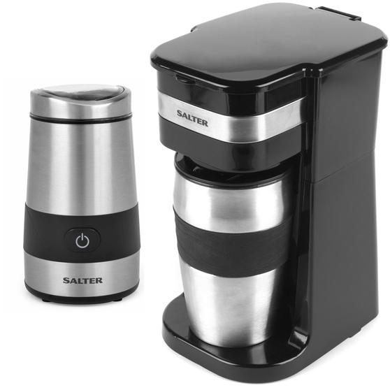 Salter COMBO-4460 Coffee Maker to Go Personal Filter Coffee Machine with Electric Grinder