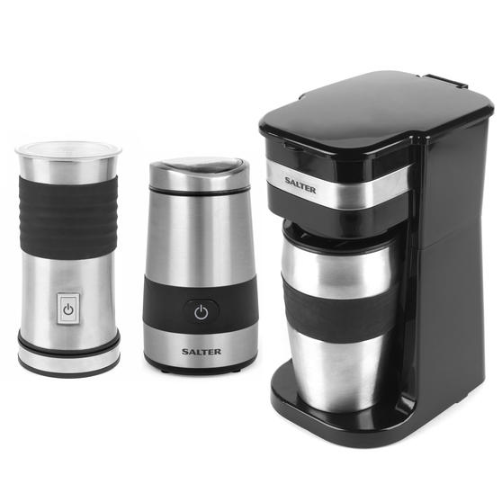 Salter COMBO-4461 Coffee Maker to Go Personal Filter Coffee Machine with Electric Grinder and Milk Frother