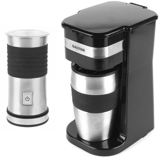 Salter COMBO-4462 Coffee Maker to Go Personal Filter Coffee Machine with Electric Milk Frother
