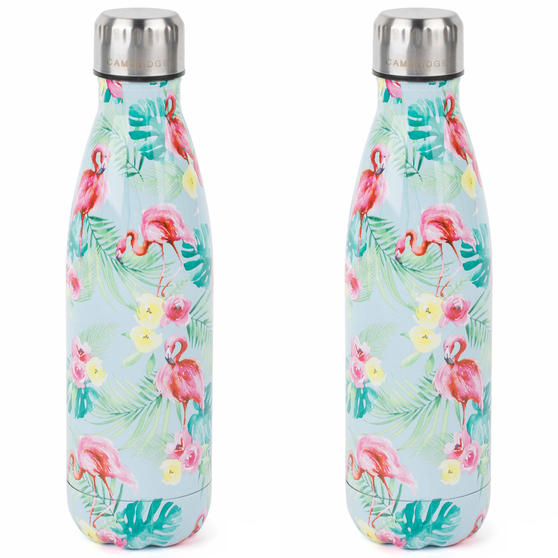 Cambridge COMBO-4145 Flamingo Jungle Thermal Insulated Flask Bottle, 500 ml, Stainless Steel, Set of 2