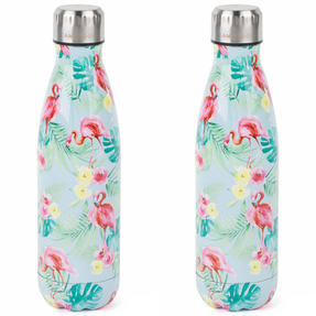 Cambridge COMBO-4145 Flamingo Jungle Thermal Insulated Flask Bottle, 500 ml, Stainless Steel, Set of 2 Thumbnail 1